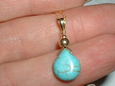 14K  GORGEOUS 4 CT NATURAL TURQUOISE PENDANT  NECKLACE 18 IN