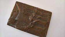 Bronze Relief Tafel Bild Bibel Jesus segnet die Kinder vintage