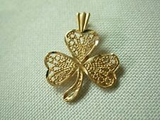 DAINTY 14K YELLOW GOLD FILIGREE TEXTURED SHAMROCK PENDANT FOR NECKLACE