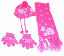 CHILDRENS BABIES ACRYLIC SKI HAT SET SCARF GLOVES WINTER US SELLER EASY TO WASH