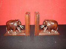 Vintage Carved Wood Elephant Bookends with Secret Compartment