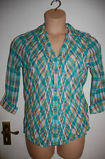 Per Una Pure Cotton Blouse Crinkle Effect Roll Up Sleeves Aqua Mix Size 10 BNWT
