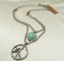 Lucky Brand Multi Strand Turquoise Silver Peace Sign Pendant Boho Necklace NWT