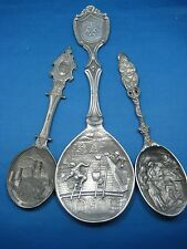 3 Different Size & Pattern Antique German Pewter Spoons Embossed & Engraved Nice