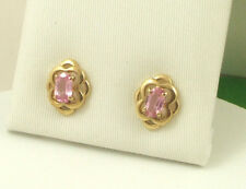 Sassi EGKS783 9ct 375 Yellow Gold Real Pink Sapphire Celtic Knot Stud Earrings