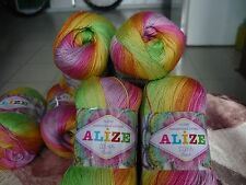 Lot of 4 skeins Yarn Alize Miss Batik Thread Crochet Knitting Mercerized Cotton