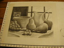 JAN STEELE, drawing: pencil: STILL LIFE: FRUIT, WINDOW, BOWL, CUP
