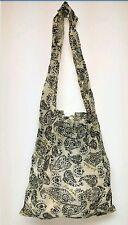 Free People Black Paisley Linen Reusable Shopping Tote Yoga Beach Boho Bag NEW