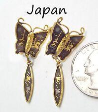 Vintage Signed JAPAN Damascene Screw Earrings, Asian Motif Butterfly w/Dangle