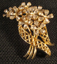 COROCRAFT Pin Brooch Lavender Rhinestone Spray Clip Gold Tone Marked 1950s VTG