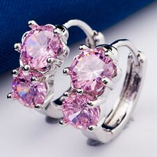 Real White Gold Plated Two Oval Stone Design Pink C.Z Women Lady Hoop Earrings
