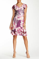 NWT $278 KOMAROV Floral Print V-Neck Lace Sleeve Day Dress,sz.L