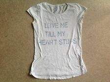 River Island - Distressed White TShirt Top - UK 8 - Love Me Till My Heart Stops