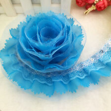 New 5 Yards 4-layer 55mm Sky Blue Pleated Trim Mesh Lace Sewing Sequin Trim #B25