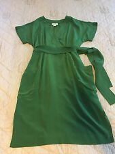 Anthropologie Maeve Womens 6 Clockwork Dress 100% Silk  Green Kimono
