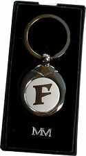 INITIAL 'F' SILVER METAL KEYRING FOB NEW GIFT BOXED