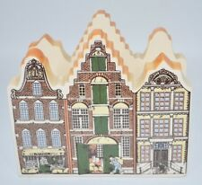 Delft Hand Painted Amsterdam Canal Houses Napkin/Mail Holder Brown/Green