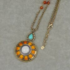lucky brand signed jewelry vintage gold tone necklace antique pendant orange