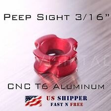 Peep Sight for Compound Bow 3/16 inch Red color CNC T6 Aluminum