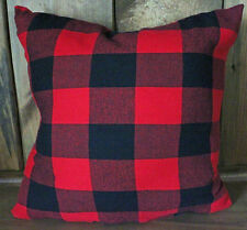 Red and Black Plaid Buffalo Print Flannel Decorative Throw Pillow