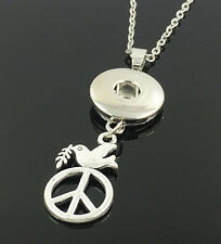 DIY 1pcs Peace Alloy Pendant With Charm Necklace Fit 18mm Snap Chunk Buttons NEW