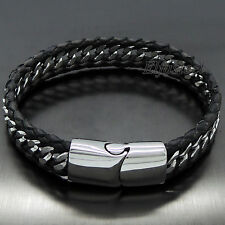 MENS13MM Genuine Black Braided Leather Stainless Steel Curb Chain Bracelet D72