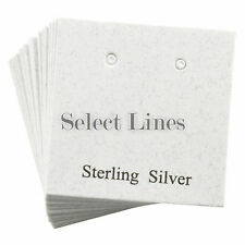 """200 Sterling Silver White Earring Jewelry Cards 1 x 1"""""""