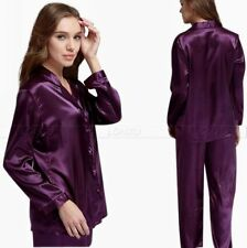 Women Silk Satin Pajamas Set  Pajama Pyjamas Sleepwear PJS Set Purple  U.S.3XL