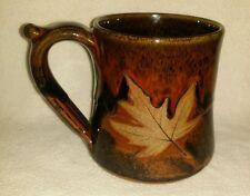 Large ROBERT ALEWINE POTTERY MAPLE LEAF 20oz COFFEE MUG Gatlinburg TN Handmade