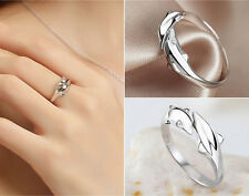 Hot Best Gift Women Silver plated Double Dolphin Opening Adjustable Rings G-AC