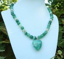 """17""""  Handmade Green Striped Agate Necklace with Matching Heart Agate Pendant"""