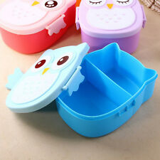 Cartoon Owl Lunch Box Food Container Storage Box Portable Bento Box Spoon Blue