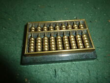 Vintage Small 1950's Brass Pocket Abacus Paperweight on Green Marble Base