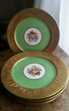 Set of 6 Very Fine Hand Painted Cauldon England Plates With Heavy Etched Rim