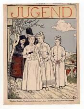 """Trachten-Kirchgang - schönes Titelblatt aus Münchner """"Jugend"""" 1898 Litho"""
