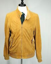 VTG Brooks Brothers Suede Leather Barracuda MA-1 Style Bomber Jacket Brown 46L