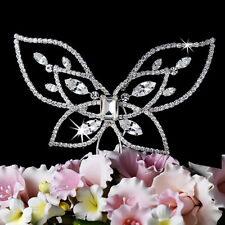 Spring Summer Crystal Butterfly Wedding Cake Topper Floral Centerpiece