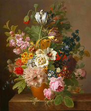Beautiful art Oil painting nice still life flowers in porcelain vase canvas