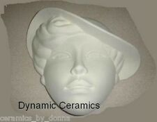 Ceramic Bisque Mask U Paint Proper Lady with Hat 8 inch NEW hand made