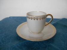 Antique LANTERNIER Limoges Porcelain Demitasse Tea Cup & Sau c. 1891-1914