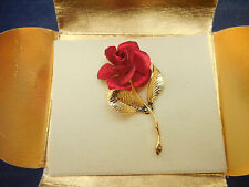 """Cerritto red rose brooch new 2 1/4"""" long"""