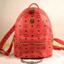 MCM STARK Small Stud Red Backpack 100% Authentic + Dust Bag