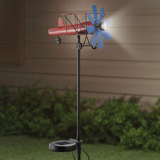 propeller airplane statue wind spinner metal Pinwheel SOLAR light LED spotlight