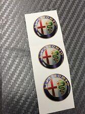3 Adesivi Stickers ALFA ROMEO Old Color 15 mm 3D resinati telecomando chiavi
