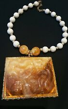 Vintage Kenneth Lane Large Lucite Swirl Oriental 3 x 4  Pendant Necklace