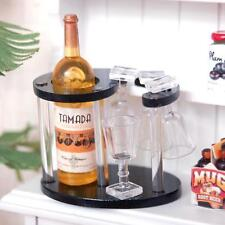 Dollhouse Miniature Wine Bottle, 4 Globets Stems Glasses & Holder Display Rack