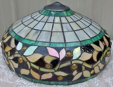 "18"" TIFFANY STYLE JEWELED STAINED GLASS IRIDESCENT LEAF VINE LAMP SHADE"