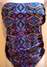 swimsuit 14 large l black blue print pink green one piece bathing suit swimwear