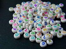 100 Buchstabenperlen Acryl weiss rund Mix Buchstaben 4x7mm
