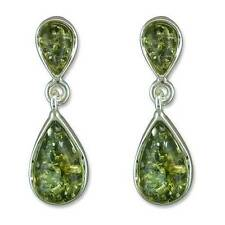 Silver and green amber teardrop dangly earrings